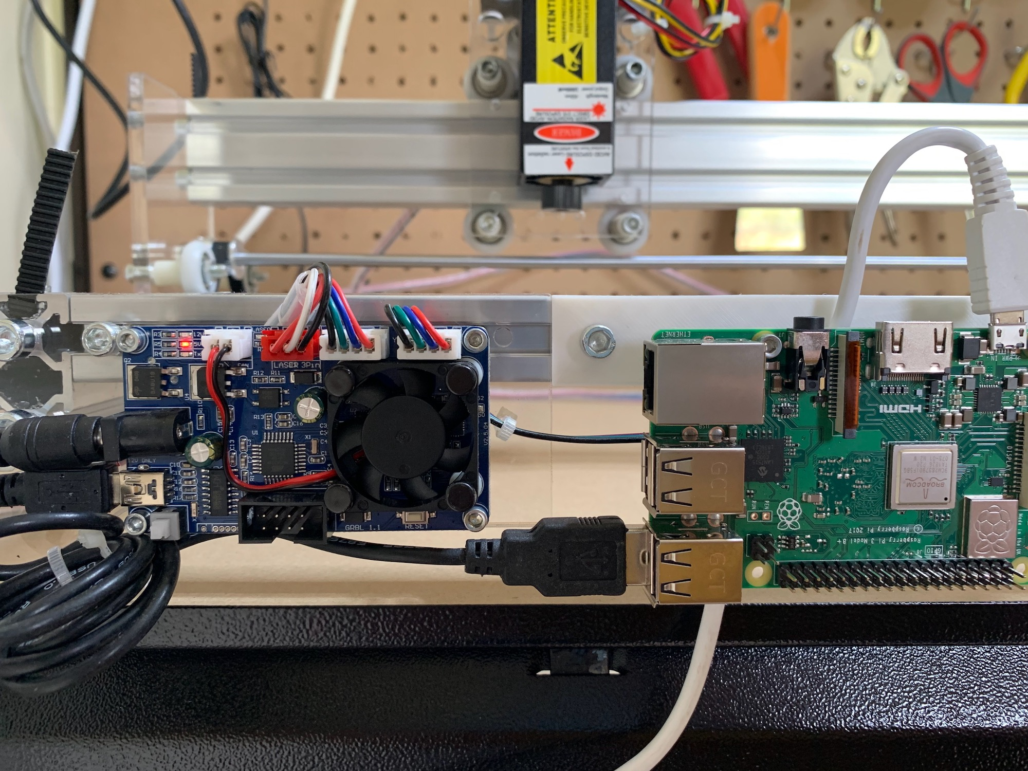 Raspberry Pi connected to controller