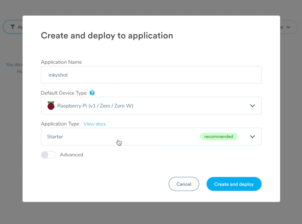 Create and deploy new app